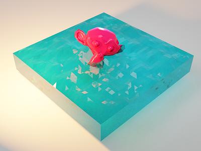 Floating monkey head blender isometry isometric design isometric 3d blender3d 3dmodeling 3d art