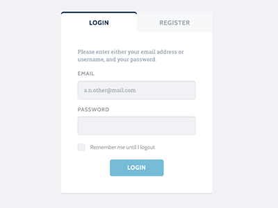 Login or Register roboto slab cabin blue grey white login form input button