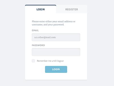 Login or Register roboto slab cabin blue grey white login form input button