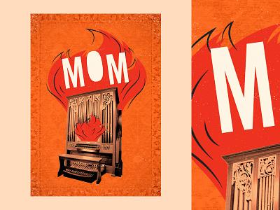 Organ texture poster vector illustration type graphic typography design