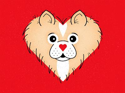 Pomeranian Heart texture vector illustration graphic design