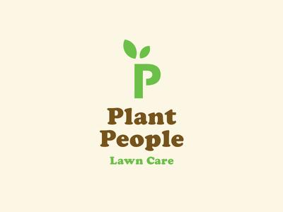 Plant People—Final cream brown vintage green branding logo lawn care plants cooper black