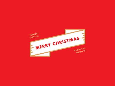 Grow Family Christmas line art gold tricolor ribbon futura bold christmas