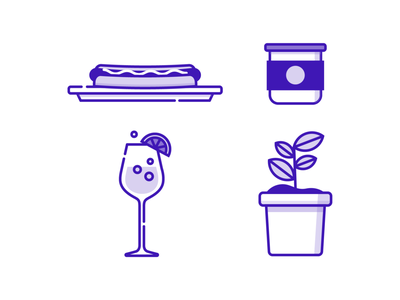 Summer Icons jar plant sangria hot dog summer vector branding ui illustrator simple illustration
