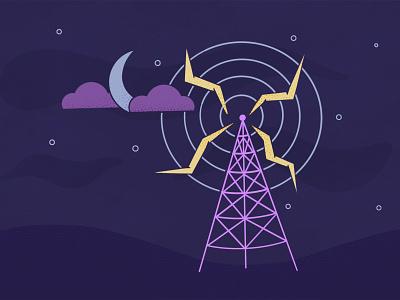 Inktober Day .04/ Radio welcometonightvale nightvale stars moon tower inktober2020 inktober radio procreate art procreate vector simple illustrator illustration
