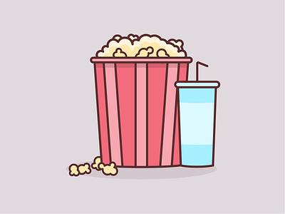 Popcorn + Soda movie vector simple snacks cinema art house theater illustrator concessions theater illustration soda popcorn