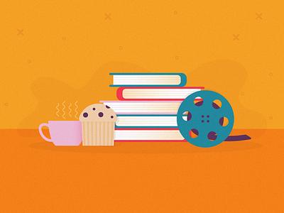 Book Breakfast movie reading books film breakfast food design theater illustrator simple illustration