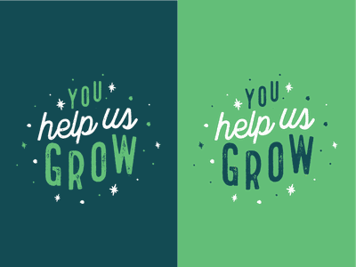 You help us grow! jbfc pleasantville westchester print tag graphic green growing grow vector illustrator illustration typography simple