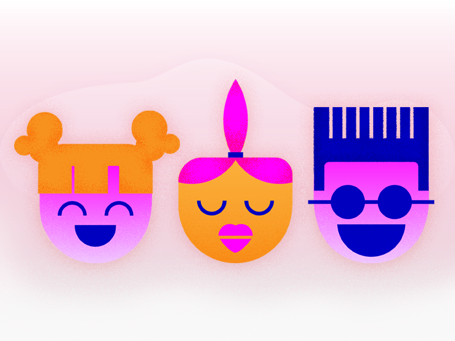 Funky Faces magenta illustrations bright people texture noise design illustrator illustration faces