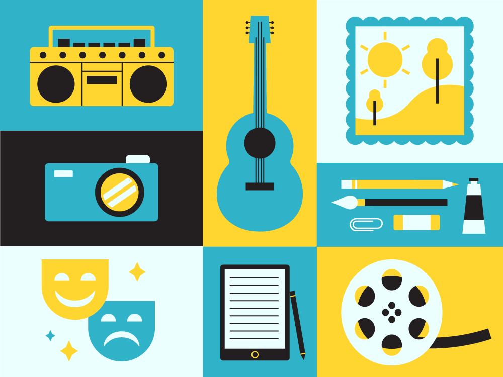 Illustrations for the Arts camera supplies art film music theater culture arts vector simple illustrator illustration icon set icons