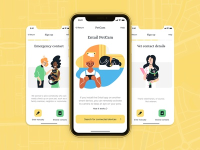 Pet tracking app illustrations app design app branding ui interface graphic design ux design illustration