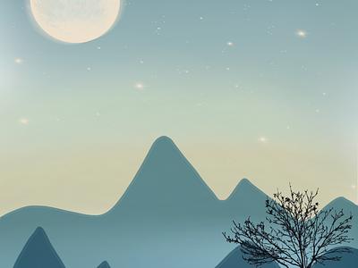 Procreate - Mountain at dusk illustration dusk mountain procreate app procreate