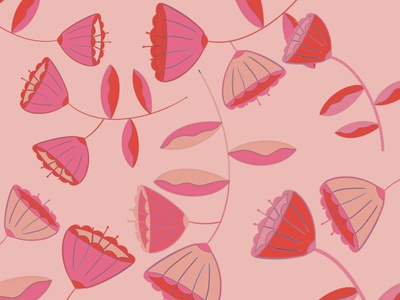 Flowers procreate app procreate patterns flowers illustration red pink