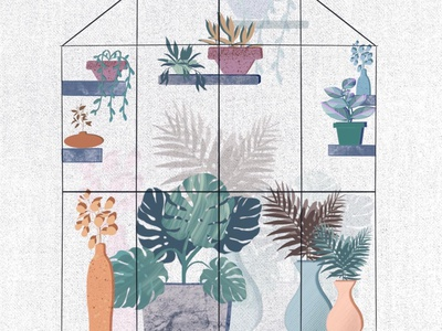 Greenhouse 🌵🌲🍃 leaves leaf modern design illustration art indoorplants plants illustration
