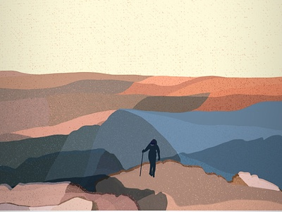 Mountain hiking scene // Cader Idris digital illustration procreate art layering dusk procreate illustration hiking mountain