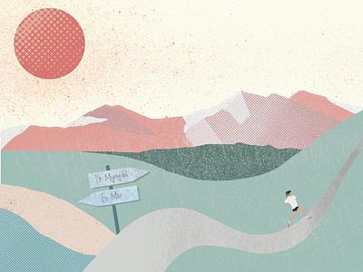 Mountain running runners runner textures landscape digital illustration mountains illustration art layering procreate procreate app illustration