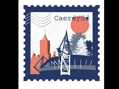 Travel stamp // Cardiff, Wales stamp travel design textures landscape digital illustration layering illustration art procreate app illustration