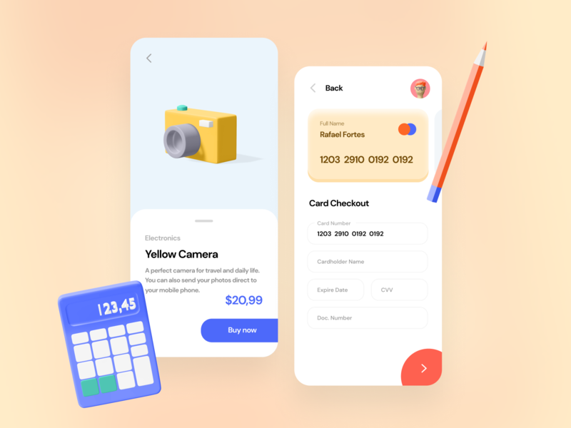 Credit Card Checkout study 3d ui design app mobile daily ui ui