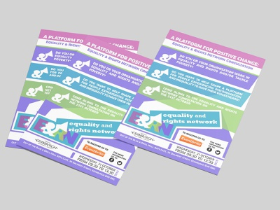 Equality and Rights Network A5 flyer design branding typography leaflet illustration vector flyers