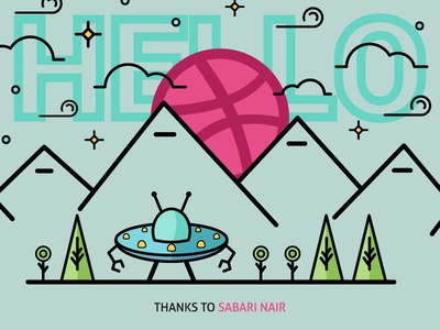 Hello Dribbble! hello dribbble sabari nair ufo illustration thanks debut first shot