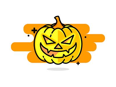 Halloween Evil Pumpkin vector illustration icon halloween