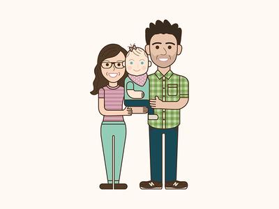Happy Family vector portrait illustration family