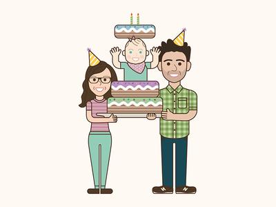 Happy Family Birthday vector portrait illustration family birthday