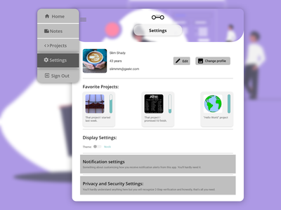 Daily UI : : 007 [Settings Page] daily ui 007 settings page settings ui app ui minimal dailyui desktop application