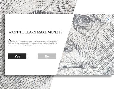 Daily UI : : 016 [PopUp] ad popup money daily ui 016 app web ui minimal dailyui