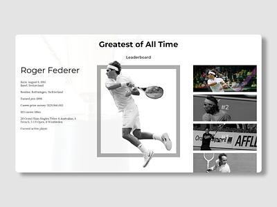 Daily UI : : 019 [Leaderboard] tennis leaderboard daily ui 019 app web ui minimal dailyui