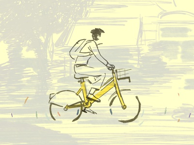 Bikemi milan city cyclist bike illustration