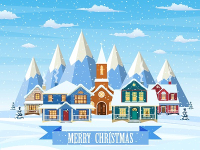 Merry christmas card. design illustration flat cartoon building architecture merry snow newyear wood scene background house landscape christmas winter village