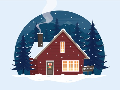 Welcome Winter - Illustration house illustration vector illustration vector illustration winter winter is coming