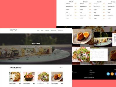 Freebie- Foodie PSD Restaurant HomepageTemplate freebie psd restaurant templates