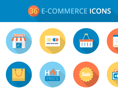Flat E Commerce Icon Set