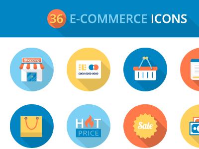 Flat E Commerce Icon Set freebies freebie icons flat ai psd png eps vector