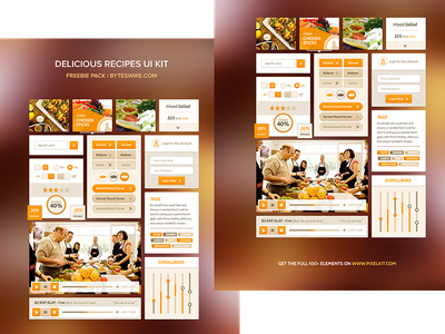 Recipe UI Kit recipes psd ui kit freebie freebies
