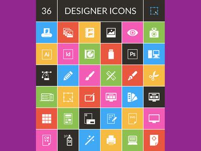 Exclusive Freebie : 36 Designer Icons set