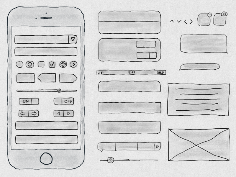 Free Hand Drawn iPhone 6s Ui Kit freebie kit ui 6s iphone drawn hand free