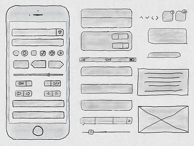 Free Hand Drawn iPhone 6s Ui Kit freebie kit ui 6s iphone drawn hand free