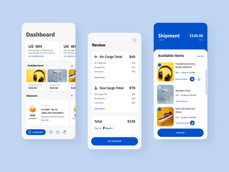 ShippingCart App UX blue software design ui ux branding ux design ui design