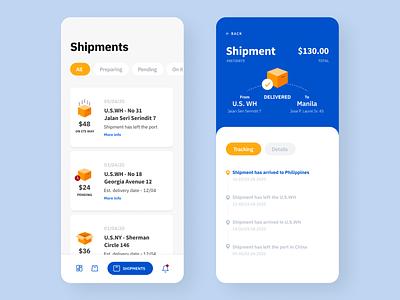 Frame 9 shipping mobile app mobile ui design blue ui ux ux design