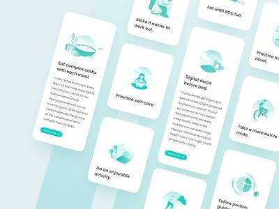 Habit cards - Fitness App Trainerize by Kroon Studio ux app nutrition fitness app fitness illustrator illustraion cards design card design cards card cards ui design ui design