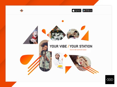 Landing Page lines shapes users orange mobile app ux design ui design creators music web design
