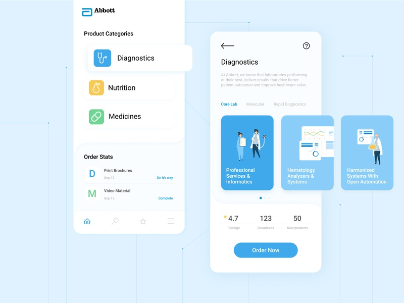 Abbott internal marketing material ordering tool blue mobile cards ux ux design app icon vector illustration design ui design medical ui abbott