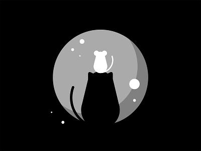 30 day challenge: Friend simple illustration blackandwhite night friend moon cat mouse illustrator illustration graphicart graphic design art 30daychallenge