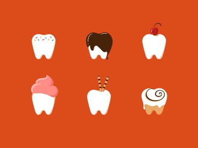 30 day challenge: Sweet Tooth sugar cinnamon roll cinnamon frosting sprinkles chocolate cherry simple illustration icons candy cute art dessert sweet tooth illustrator illustration graphicart graphic art 30daychallenge