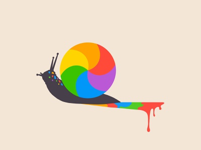 30 day challenge: Snail of death cute art playful paint rainbow color colorful beachball snail design illustration graphicart graphic art 30daychallenge