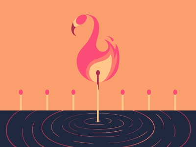 30 day challenge: Flamingo pun burn pink hot pink flamingos matches fire flame flamingo playful simple illustration design illustrator illustration graphicart graphic art 30daychallenge