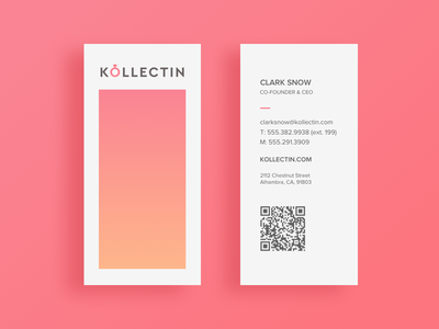 Kollectin Business Cards pink jewelry editorial design business cards
